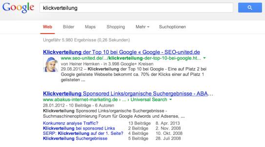 Symbolbild: Suche nach 'klickverteilung' bei Google